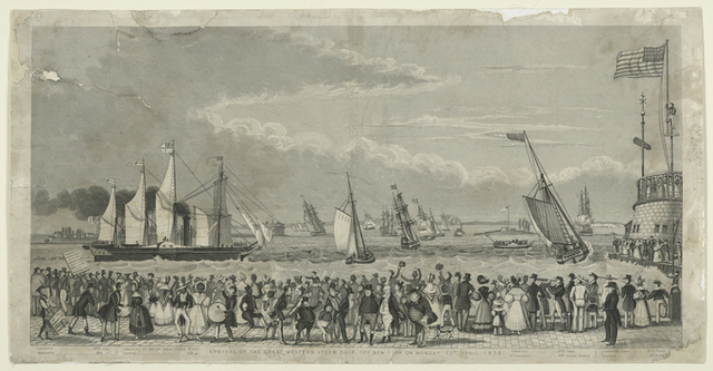 Arrival of the Great Western steam ship, off New York on Monday 23rd. April 1838.