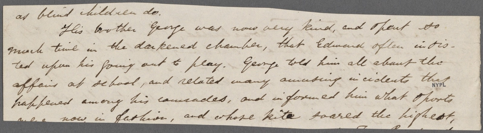 Biographical stories for children. Holograph fragment. Unsigned, undated.