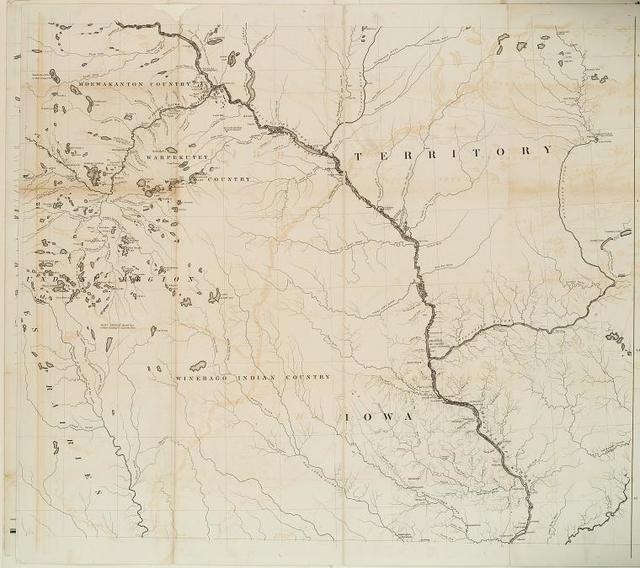 [Coteau des prairies, M'dewakaton country, Warpekutey country, Winebago Indian country, Iowa Territory; middle right.]