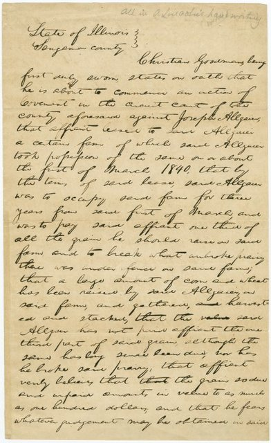 Deposition of Christian Goodman in Lincoln's hand