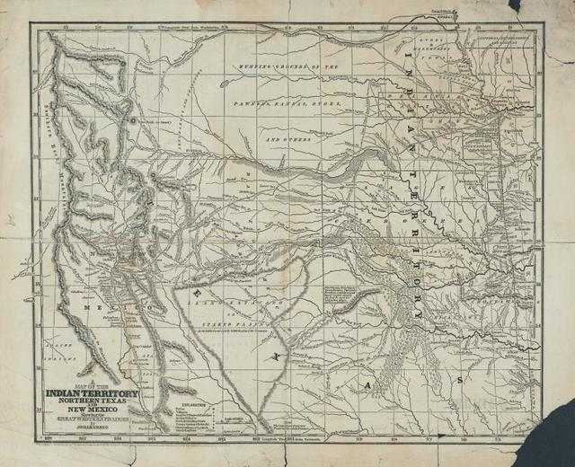 Map of the Indian Territory, Northern Texas and New Mexico.
