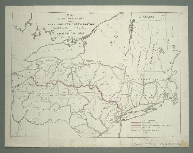 Map shewing the rail roads between Lake Erie, New York & Boston : intended to illustrate the importance of the N. York & Erie Rail Road
