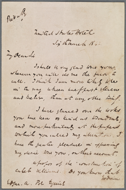 Poe, Edgar Allan. ALS to 1842 Mar. 6