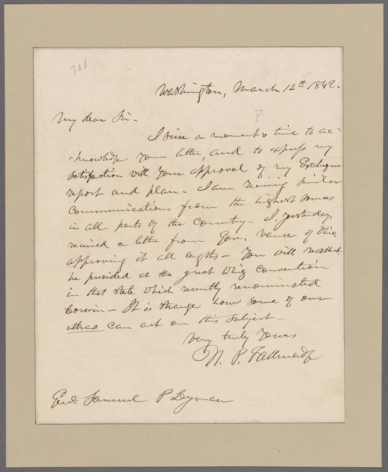Tallmadge, Nathaniel. Washington. To Samuel P. Leyman