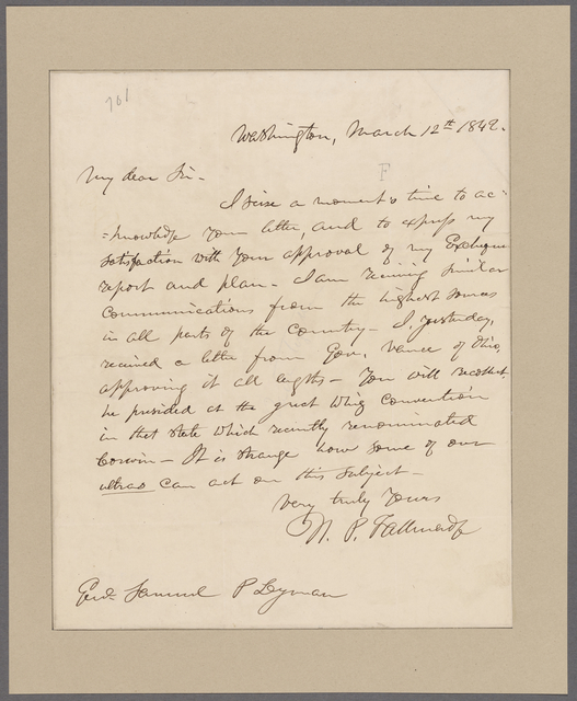 Tallmadge, Nathaniel. Washington. To Samuel P. Leyman