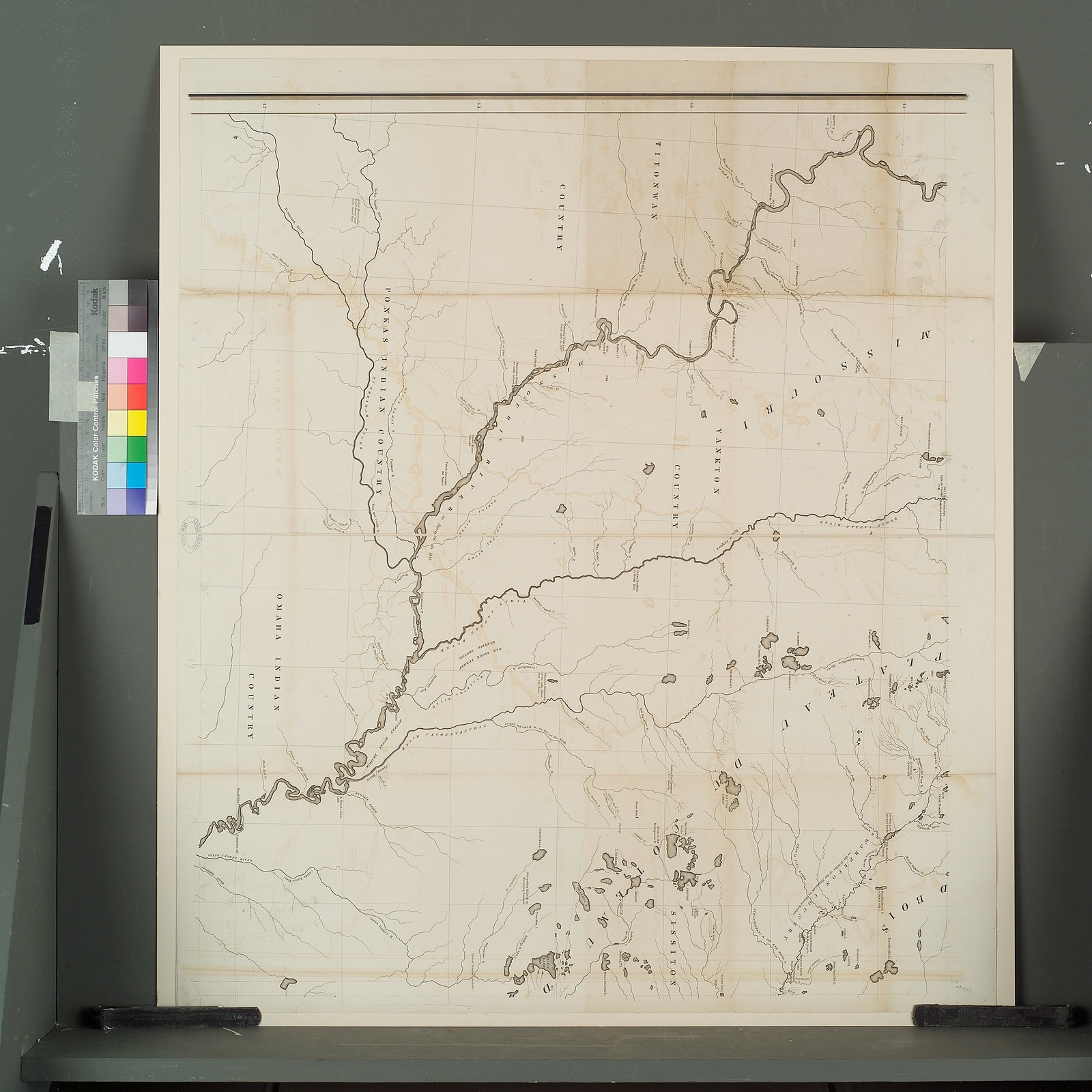 [Titonwan country, Ponkas Indian country, Omaha Indian country, Yankton, country; middle left].