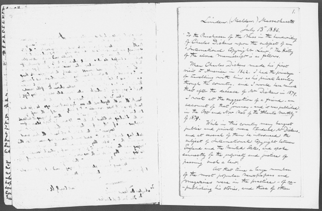 """To the editor,"""" letter on the international copyright law, sent to various American newspapers. Holograph. Comprises note by Dickens signed and dated, April 27, 1842, and letters on the subject sent to him 1842"""