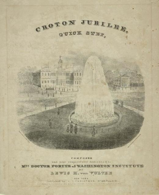 View of New York City Hall, with fountain playing in foreground. Above: Croton Jubilee Quick Step