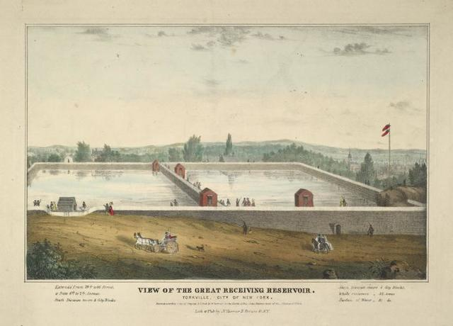 View of the great receiving reservoir. Yorkville City of New York