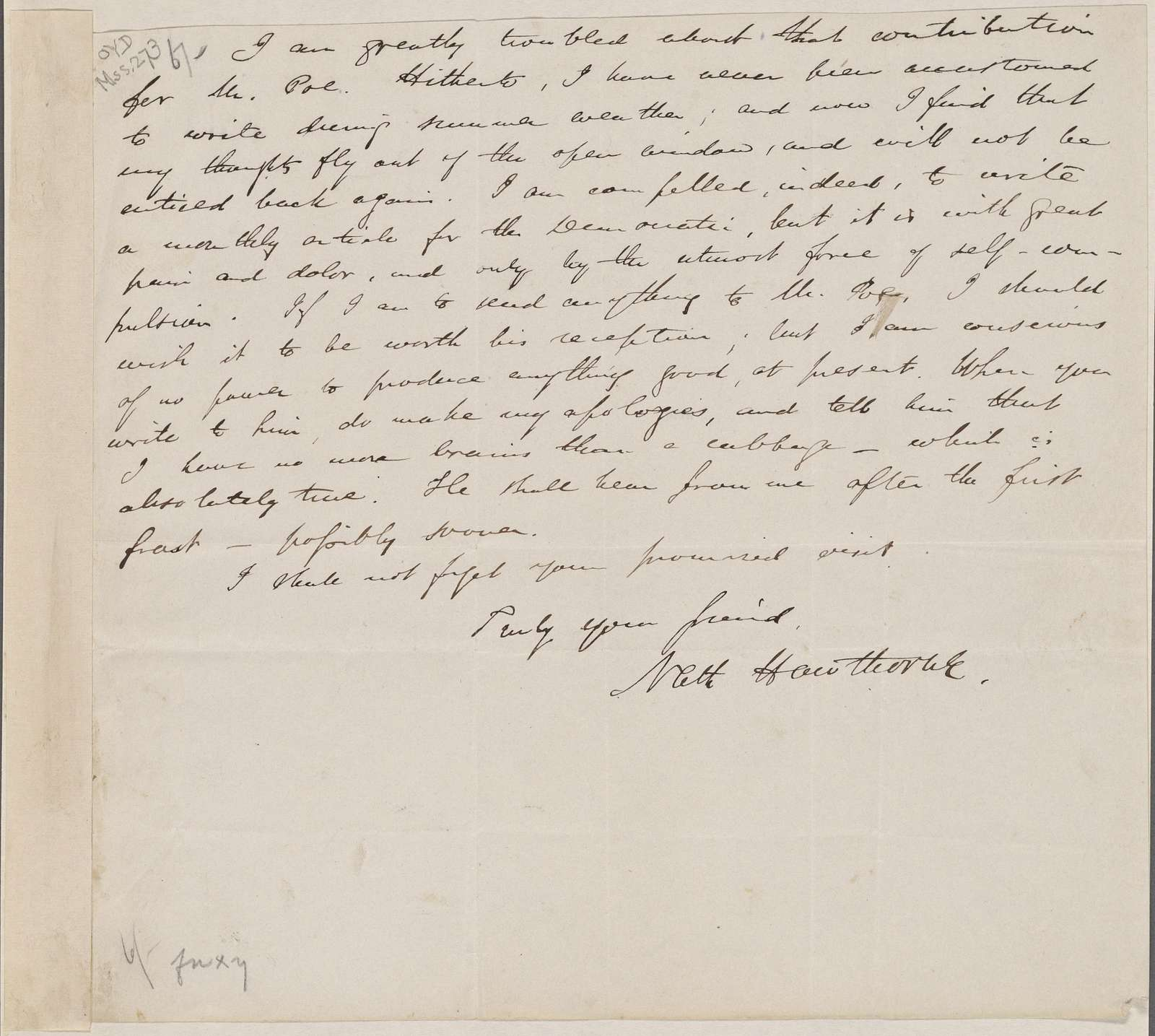 [Lowell, James Russell], ALS to. [May? 1843]. Mentions Edgar Allan Poe.