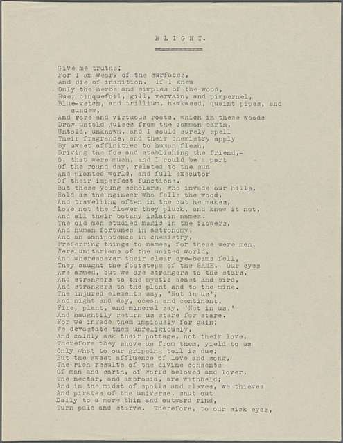 """""""Blight."""" Holograph poem, unsigned, undated."""