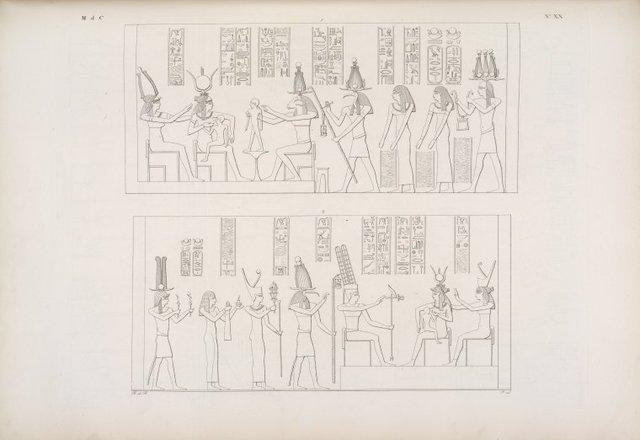1, 2. Augusto viene insieme con li Dei a compier le cerimonie verso il divino figlio di Athyr. (Dal tempio di Athyr a Phile).