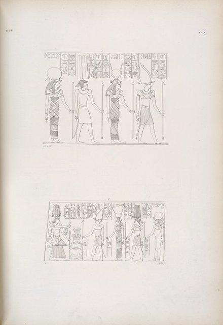 1. Osiride [Osiris], Iside [Isis], Thoth e Tafne [Tefnut] . 2. Il medesimo Erkamon [Arqamani] offre alle suddette quattro deità.