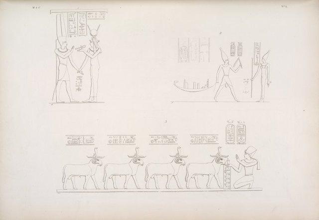 1. Quadro del suddetto monumento, che rappresenta la dea Iside a ricevere la vita da Amonre. 2... Eileithya: Ramses III che offre una Bari alla dea Suan. 3... Esneh: i quattro Spiriti delle regioni, adorati dall'Imperator Domiziano.
