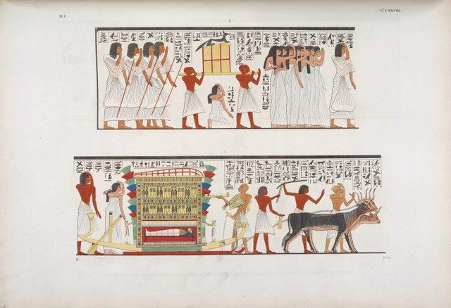 Accompagnamento di una mummia al sepolcro. - Il dio Anubi presta gli ultimi uffizi a un defunto.