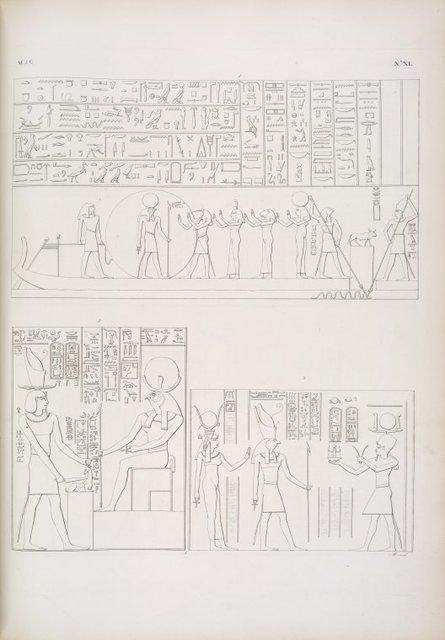 Bari dell' ora quinta del Sole (segue la serie dei quadri di Edfu [Idfû], cominciata nella tav. 38). - Tolomeo-Evergete II immola un antilope al dio Chons [Khonsu]. - Tolomeo Filopatore fa offerta all' Horus di Edfu e ad Athyr [Hathor].