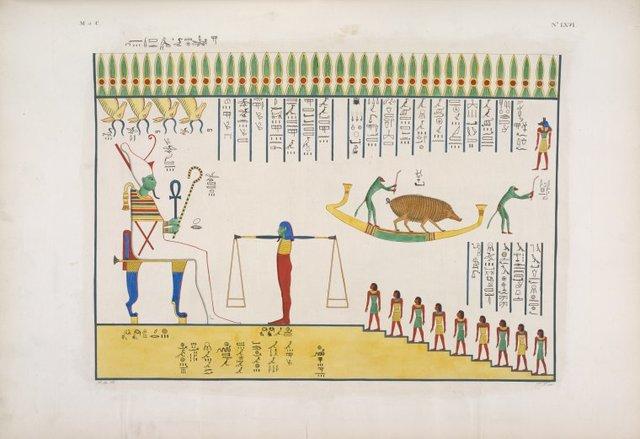 Bassorilievo della tomba di Ramses VI, rappresentanza mistica della metensomatosi egizia. Le anime salgono al cospetto di Osiride [Osiris] giudice nell' Amenti, e secondo il giudizio, volano tra li spiriti puri, o ritornano in animaleschi corpi?