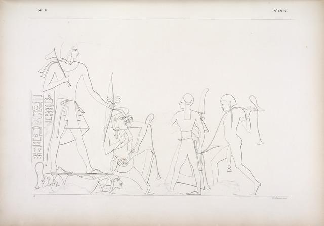 Battaglie e conquiste di Ramses II sopra popoli d'Asia, rappresentate nell'atrio del tempietto di Beit-ualli [Beit el-Wali] in Nubia.