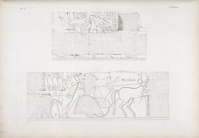 Comincia la serie delle battaglie e conquiste di Menphtah I [Seti I] nell' Asia e nell' Africa, rappresentate in grandi basso-rilievi a Karnac [Karnak]]. Frammento di una battaglia coi carri per assaltare una fortezza.