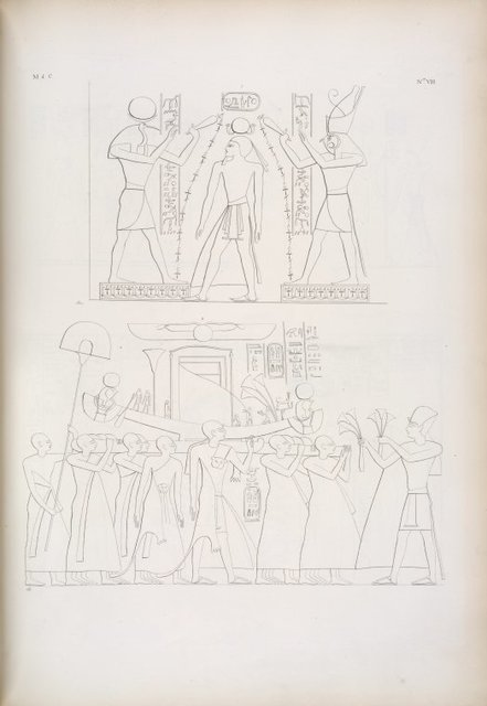 Derry [el-Derr]: 1.Purificazione di Ramses III per Thoth e Horus. 2. La Bari di Phrê portata in processione.