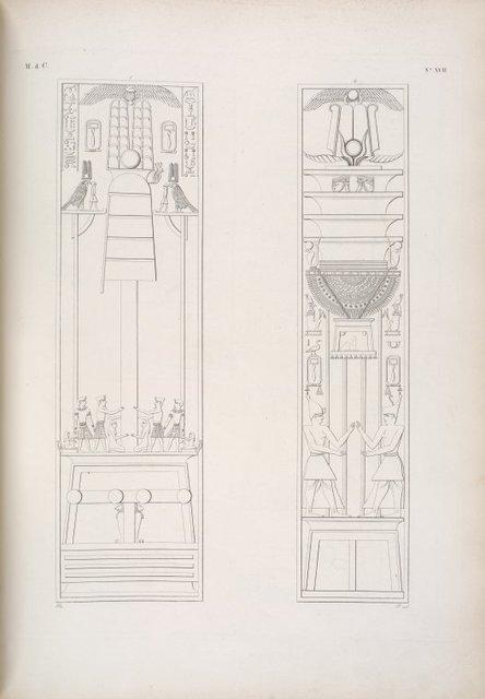 Due pilastri con ornamenti emblematici relativi alle varie forme d'Osiride.