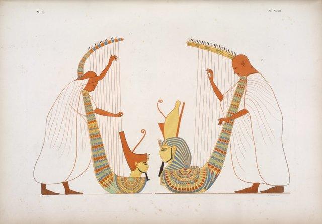 Due sonatori di arpa figurati nella tomba di Ramses IV.