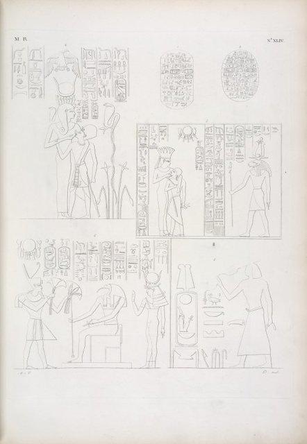 Figg. 1, 2 e 3.  Due grandi scarabei con iscrizione di Amenôf III. Atto di ossequio al suo prenome. - Fig. 4, 5. Il re Horus è allattato da due dee. - Fig. 6. Fa offerta di fiori a Thoth e Athyr [Hathor].
