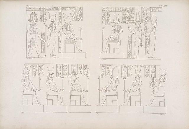 Figura di Horus, Sevek [Sobek] ed altre deità adorate nel tempio di Ombôs.