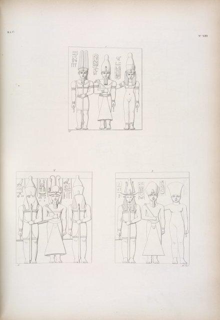 Ghirscieh-Hassan [Gerf Hussein]: Tre nicchie scolpite nell'Emispeco: rappresentano Ramses III in mezzo a due deità.