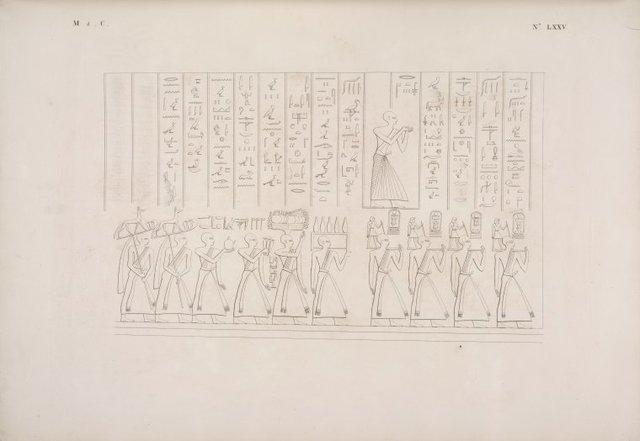 Gran frammento della Processione di Sesostri: quadri tre consecutivi esistenti nel Ramsesseion a Tebe [Thebes].