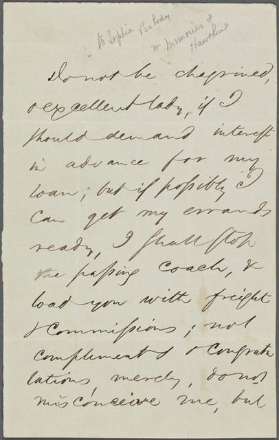 [Hawthorne, Sophia Amelia Peabody], ALS to. [1843?].