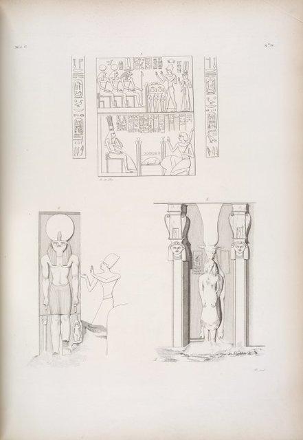 Ibsambul: 1. Adorazione di Ramses III a varie deita? 2.Immagine di Phre sopra la porta dello Speco maggiore. 3. La vacca di Athyr di fronte, che tiene tra le zampe una figura umana (fondo del santuario dello Speco minore).