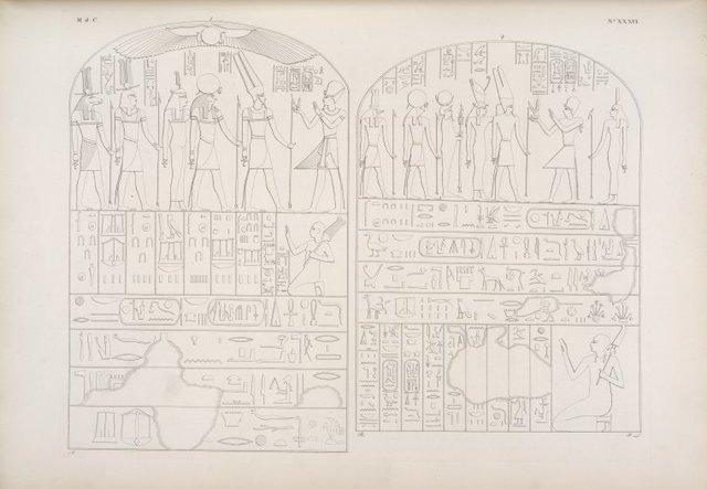 Il medesimo re fa offerta ad Amon-re, Phre [Ra], Tme [Maat], Phtah [Ptah] e Sevek [Sobek]. - Lo stesso, seguito dalla dea Tme [Maat], offre ad Amon-re [Amon], Muth [Mut], Chons [Khonsu], Phre [Ra] e Sevek [Sobek].