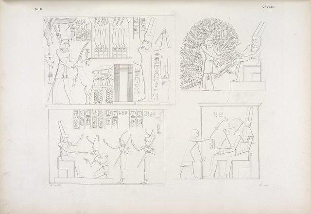 Il re Amenôf III immola un antilope ad Horamon. Sta dentro alla persèa, mentre Ammone scrive i suoi titoli. Riceve dallo stesso dio l'investiture dell'Alto e del Basso-Egitto. È seduto sul trono con la moglie, e vien loro innanzi un atloforo.