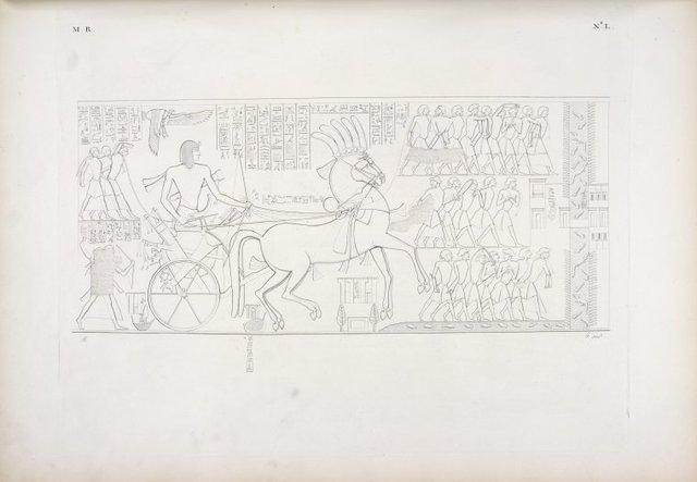 Il re ritorna trionfante in Egitto, e gli vengono incontro gli Egiziani festeggianti.