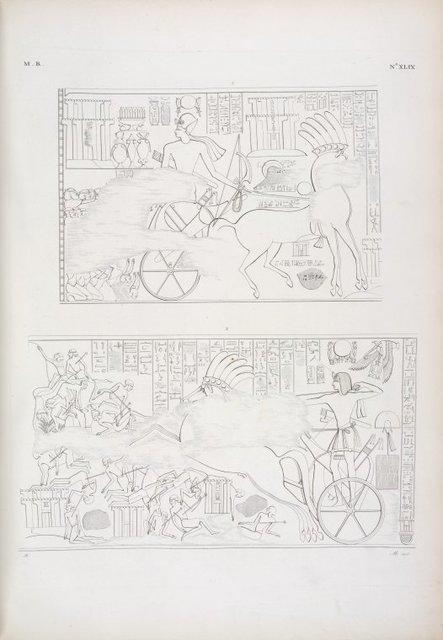 [Il re viene a offrire ad Amon-rê [Amon], Mut e Chons [Khonsu] i prodotti della vittoria.] -- Assale col carro e saetta una massa di nemici.