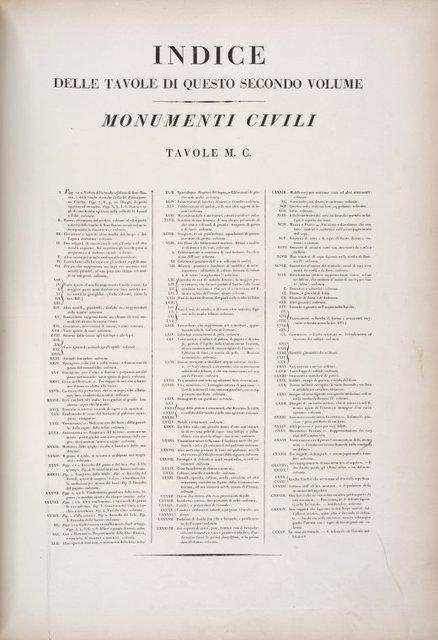 Indice delle tavole di questo secondo volume: Monumenti Civili. Tavole M.C.