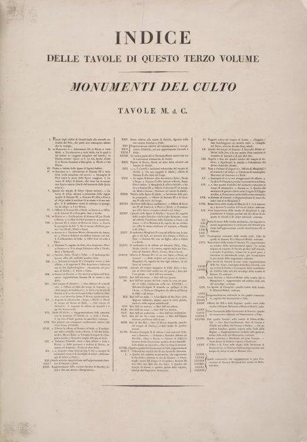Indice delle tavole di questo terzo volume Monumenti del Culto. Tavole M.d.C.