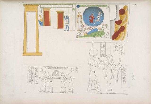 Isola di Phile 1. Rappresentazione della cataratta con la mummia di Osiride ec.  2. Iside e Thoth. 3. La Bari d'Iside portata da sacerdoti.