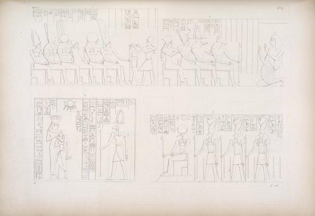 Masciahit. 1. Adorazione del re Horus a varie deità. 2. Un adoratore a varie deità, tra li quali è un antico re (soggetti intagliati nel monte) - Dgebel-Addeh. Speos. 3. La dea Anuke allatta il re Horus dinnanzi a Chnuphis. 4. Thoth e i tre Horus.