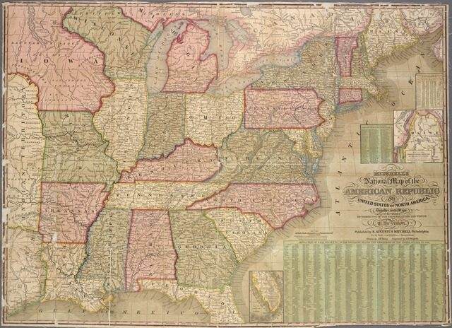 Mitchell's national map of the American Republic : or United States of North America, together with maps of the vicinities of thirty-two of the principal cities and towns in the union