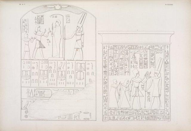 Offerta di Ramses III e di un suo figlio, a Phtah ed Amonre. - (Stela scolpita nel monte di Silsilis): Menphtah II, seguito da due figli atlofori, fa offerta ad Amonre [Amon].