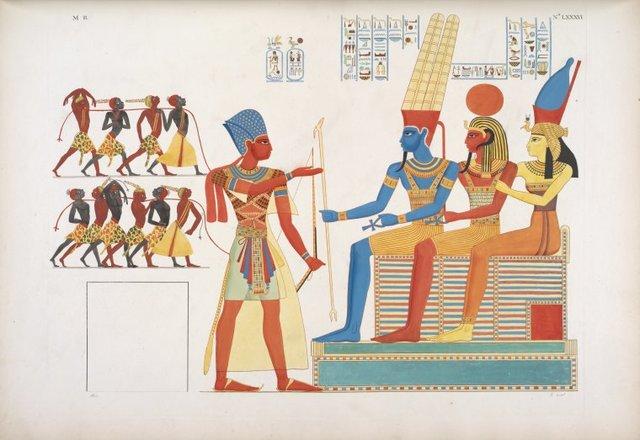 Presenta quelli schiavi ad Amon-rê [Amon], Phrê [Khonsu] e Mut, triplice deità dello Speco.