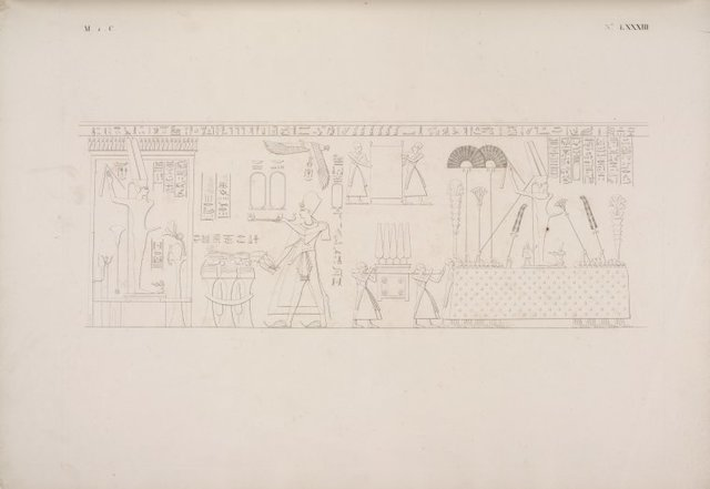 Quadri consecutivi che rappresentano la gran Processione di Ramses Meiamun nel cortile di Medinet-Abu.