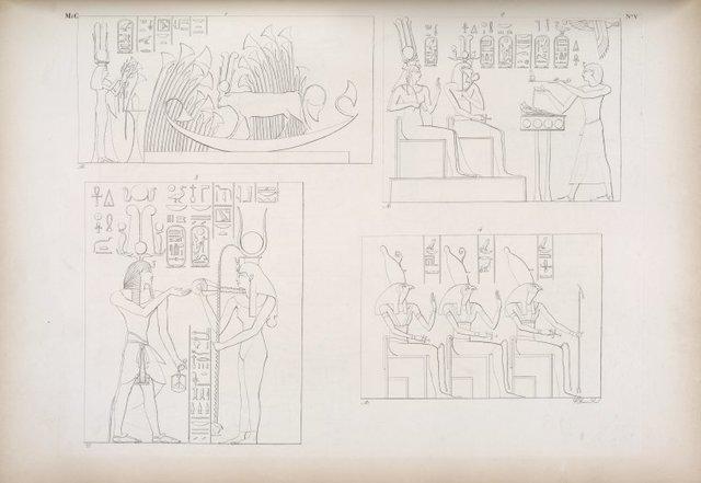 Quadri dei tempo di Athyr (Speco minore). 1. La vacca di Athyr adorata e presentata dalla regine moglie di Ramses III. 2. Ramses III offre a Phrê e ad Athyr sotto li emblemi  di se 3. Il medesimo riceve la collana e la panegiria da Athyr. 4. I tre Horus.