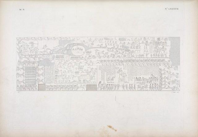 Questa tavola contiene in piccole dimensioni un vasto soggetto, che occupa tutta intera la parete settentrionale del medesimo Speco d'Ibsambul [Abû Sunbul]; e che in più grandi forme, secondo la scala consueta, si vede compreso in sedici tavole seguenti..