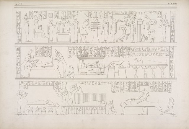 Rappresentanze della camera funebre di Osiride [Osiris], relative alla sua morte e risorgimento.