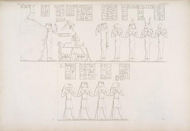 Rappresentanze relative all'imbalsamatura e risorgimento d'Osiride [Osiris], nel suo appartamento funerale a Phile [Philae].