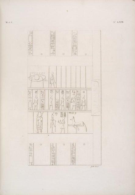 Rappresentazione zodiacale in tre quadri consecutivi, copiata dal Ramsesseion a Tebe [Thebes].