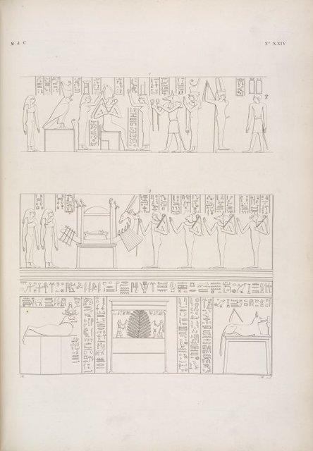 Scene relative alla morte di Osiride [Osiris], figurate nella sua camera funebre a Phile [Philae].
